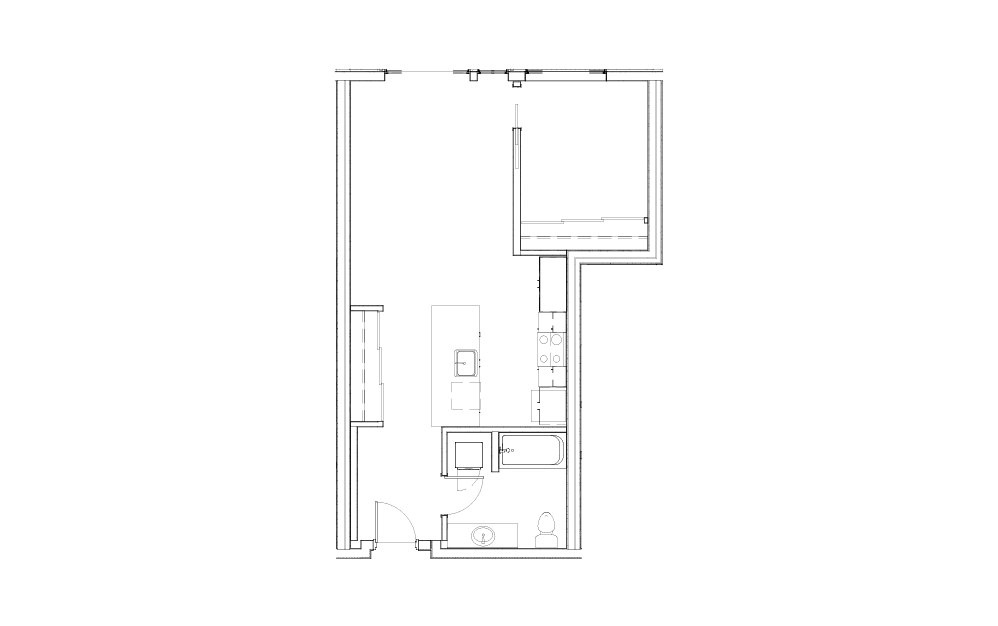 EL-1.1 - 1 bedroom floorplan layout with 1 bath and 683 to 694 square feet.