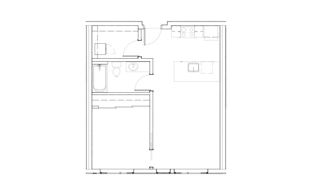 EL-1.2 - 1 bedroom floorplan layout with 1 bath and 641 square feet.