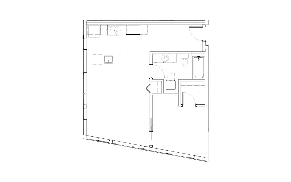 EL-1.2.1 - 1 bedroom floorplan layout with 1 bath and 742 square feet.