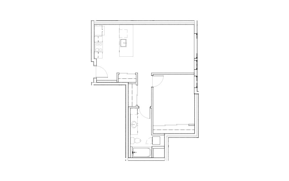 EL-1.4 - 1 bedroom floorplan layout with 1 bath and 714 to 718 square feet.