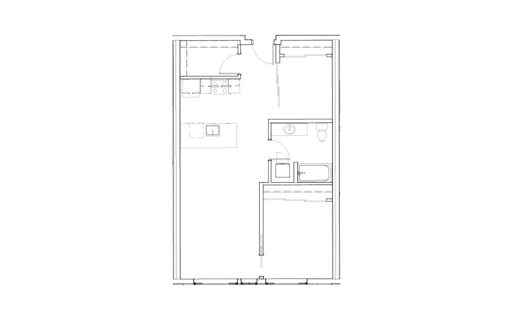 EL-1.6 - 1 bedroom floorplan layout with 1 bath and 828 square feet.