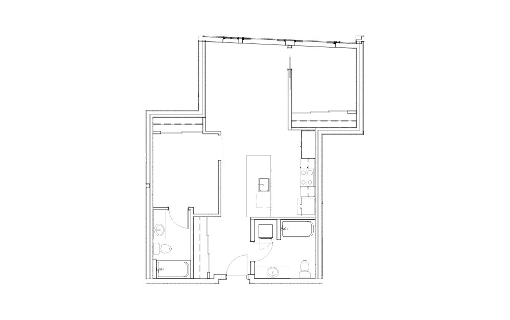 EL-1.7 - 2 bedroom floorplan layout with 2 baths and 803 to 869 square feet.