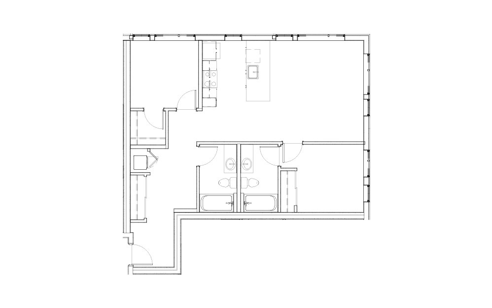 EL-2.1 - 2 bedroom floorplan layout with 2 baths and 1003 to 1006 square feet.