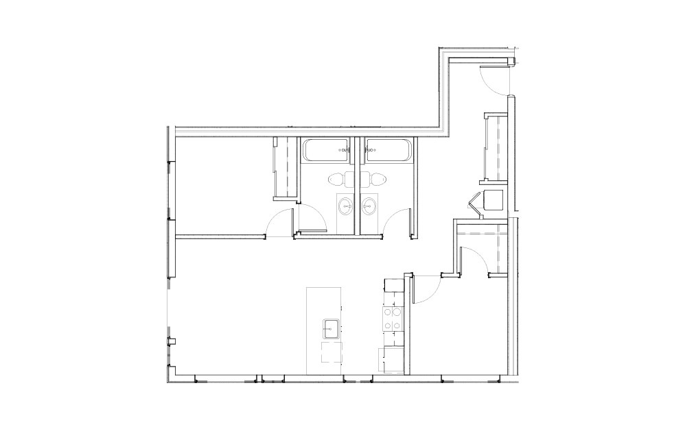 EL-2.1.1 - 2 bedroom floorplan layout with 2 baths and 959 square feet.