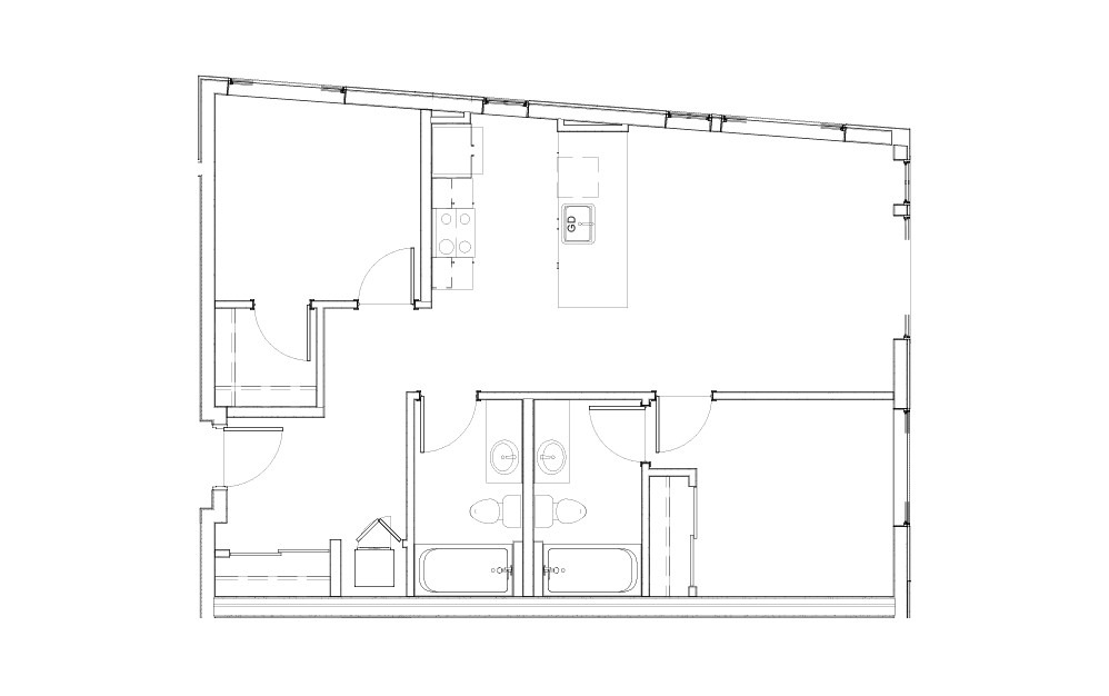 EL-2.1.2 - 2 bedroom floorplan layout with 2 baths and 803 to 917 square feet.
