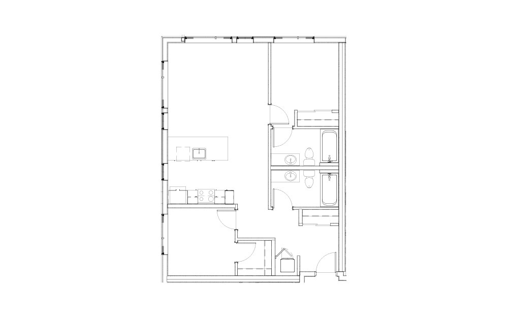 EL-2.1.3 - 2 bedroom floorplan layout with 2 baths and 950 to 988 square feet.
