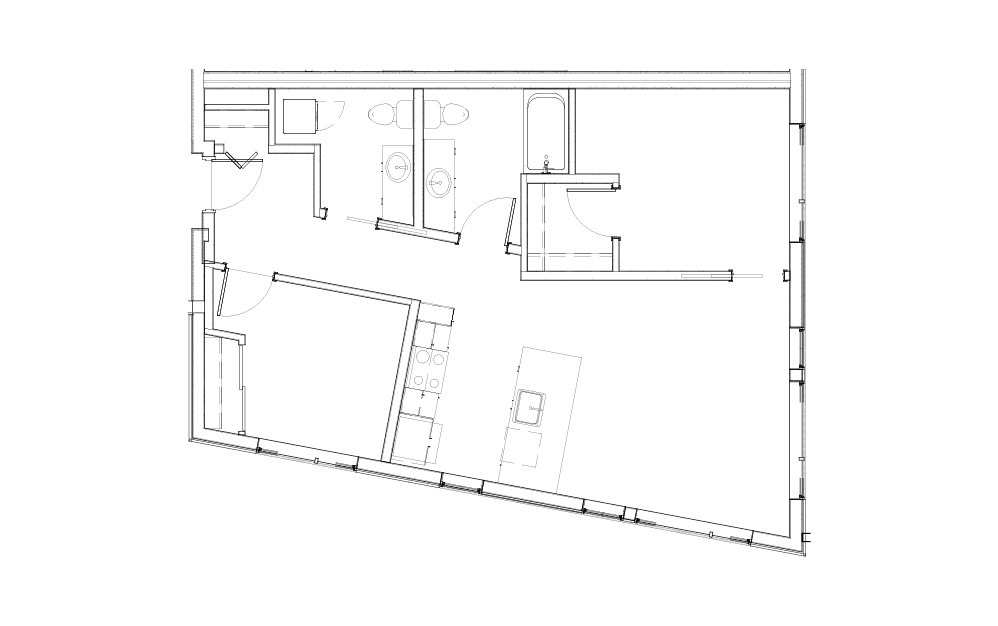 EL-2.5 - 2 bedroom floorplan layout with 2 baths and 803 to 880 square feet.