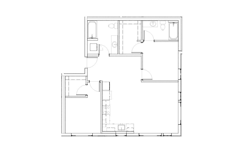 EL-2.6 - 2 bedroom floorplan layout with 2 baths and 990 square feet.