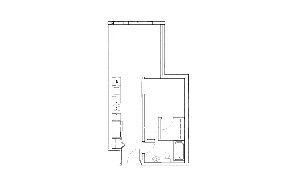 EL-0.1 - 1 bedroom floorplan layout with 1 bath and 595 to 604 square feet.