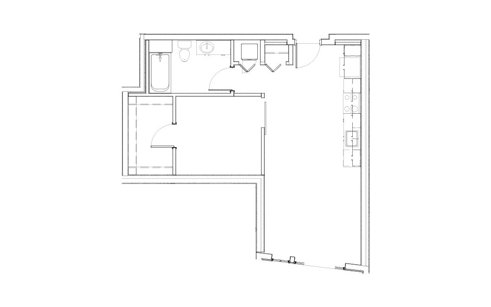 EL-0.2 - 1 bedroom floorplan layout with 1 bath and 660 square feet.