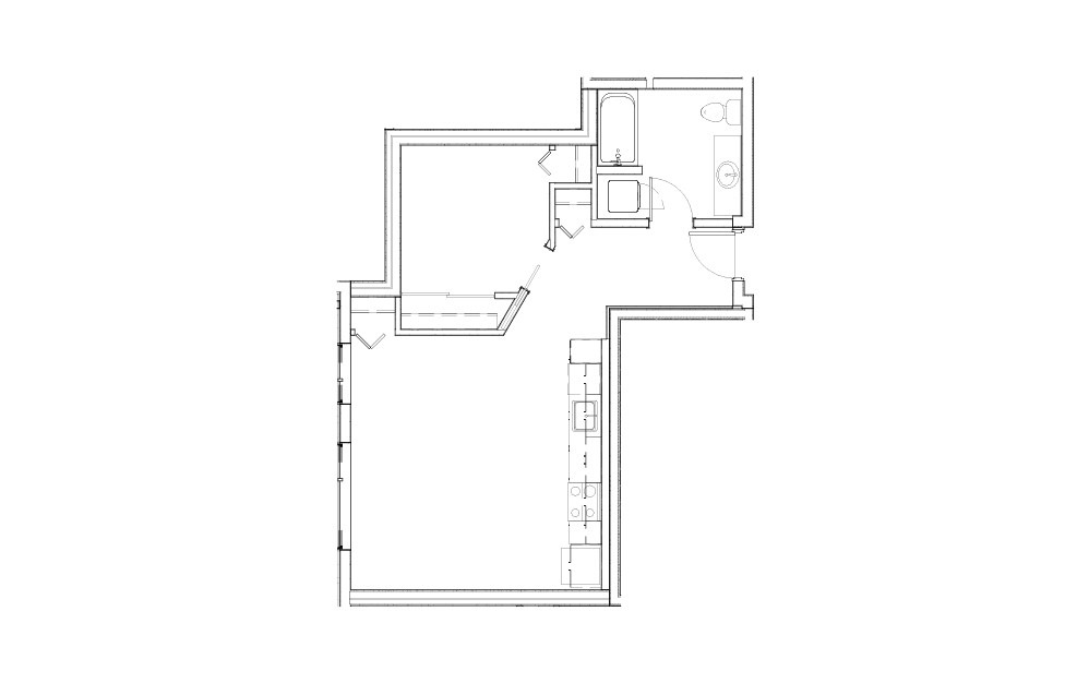 EL-0.5 - 1 bedroom floorplan layout with 1 bath and 640 square feet.