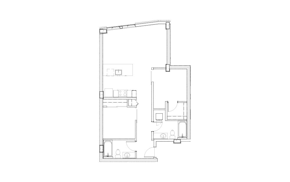 EL-02.1 - 2 bedroom floorplan layout with 2 baths and 960 square feet.