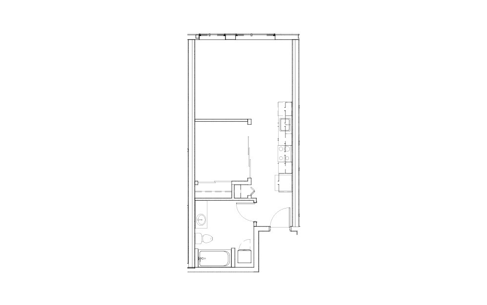 EL-S.1 - Studio floorplan layout with 1 bath and 519 square feet.